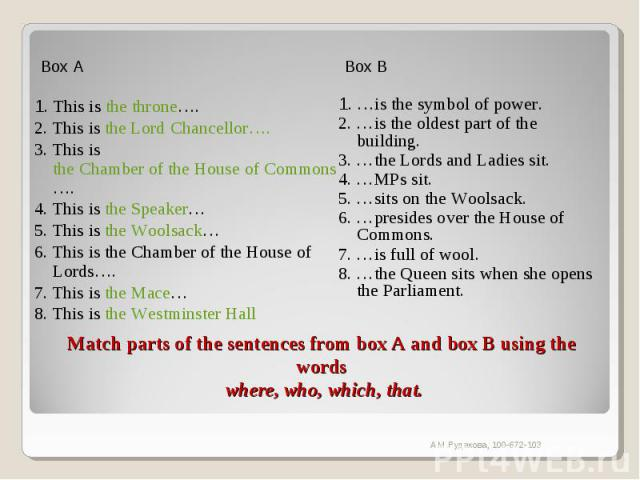 Box A1. This is the throne….2. This is the Lord Chancellor….3. This is the Chamber of the House of Commons….4. This is the Speaker…5. This is the Woolsack…6. This is the Chamber of the House of Lords….7. This is the Mace…8. This is the Westminster H…