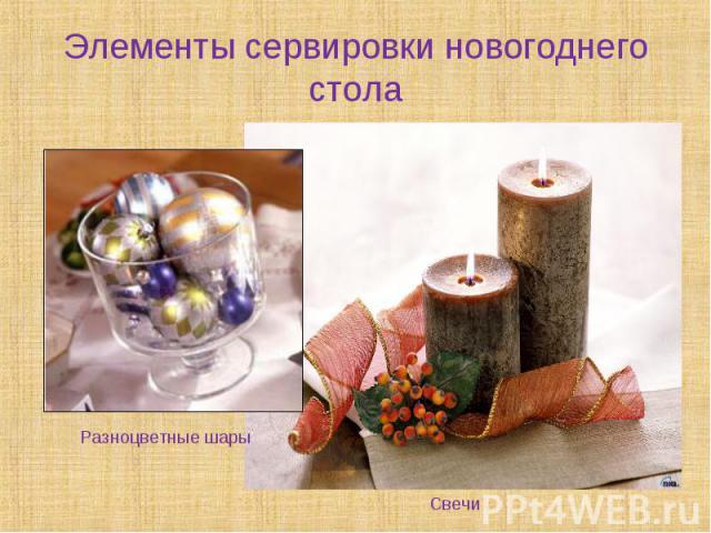 Элементы сервировки новогоднего стола Разноцветные шарыСвечи