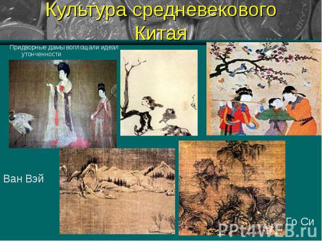 Культура средневекового Китая Придворные дамы воплощали идеал утонченностиВан ВэйГо Си