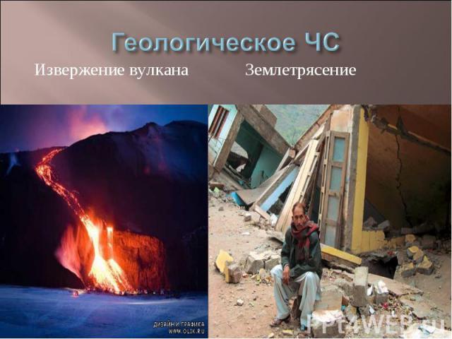 Геологическое ЧС Извержение вулкана Землетрясение
