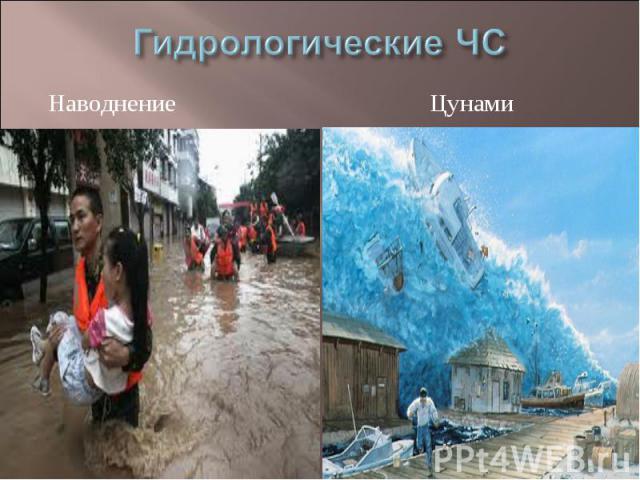 Гидрологические ЧС Наводнение Цунами