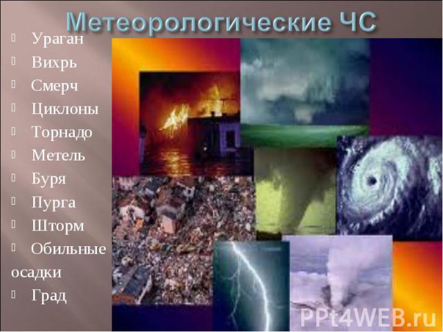 Метеорологические ЧС УраганВихрьСмерчЦиклоныТорнадоМетельБуряПургаШтормОбильные осадкиГрад