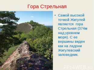 Гора Стрельная Самой высокой точкой Жигулей является гора Стрельная (374м над ур