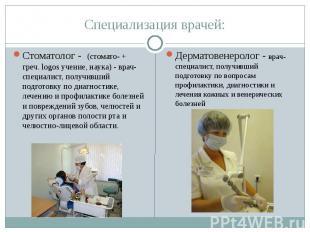 Специализация враче й: Стоматолог - (стомато- + греч. logos учение, наука) - вра