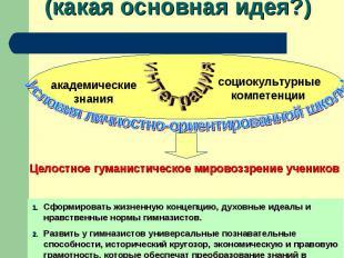 Концепция программы(какая основная идея?) Сформировать жизненную концепцию, духо