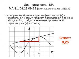 Диагностическая КР. МА-11. 08.12.09 B8 (из открытого сегмента ЕГЭ) На рисунке из