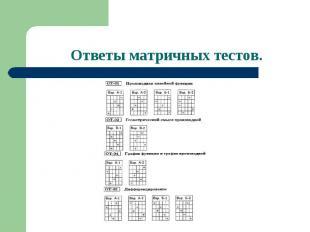 Ответы матричных тестов.
