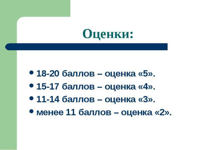 Оценки: 18-20 баллов – оценка «5».15-17 баллов – оценка «4».11-14 баллов – оценка «3».менее 11 баллов – оценка «2».
