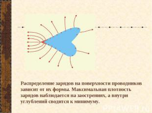 Распределение зарядов на поверхности проводников зависит от их формы. Максимальн