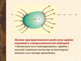 Явление пространственного разделения зарядов называется электростатической индук