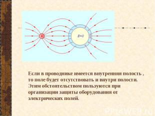 Если в проводнике имеется внутренняя полость , то поле будет отсутствовать и вну