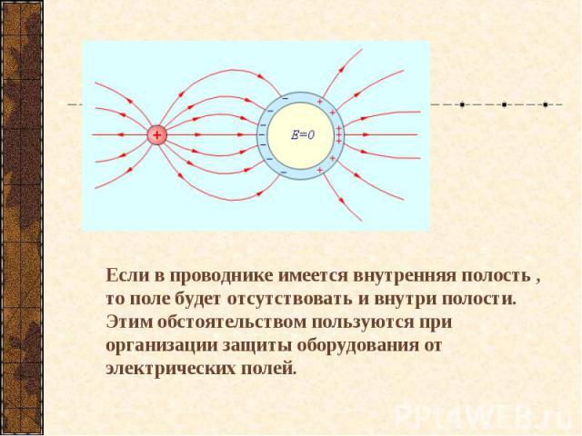 Если в проводнике имеется внутренняя полость , то поле будет отсутствовать и внутри полости. Этим обстоятельством пользуются при организации защиты оборудования от электрических полей.
