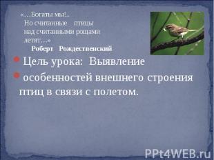 «…Богаты мы!.. Но считанные птицы над считанными рощами летят…» Роберт Рождестве