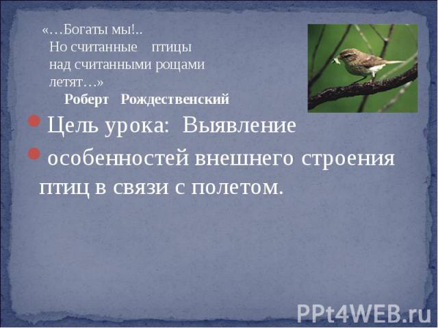 «…Богаты мы!.. Но считанные птицы над считанными рощами летят…» Роберт РождественскийЦель урока: Выявление особенностей внешнего строения птиц в связи с полетом.