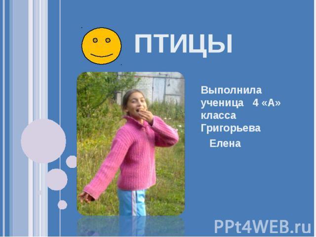 Птицы Выполнила ученица 4 «А» класса Григорьева Елена