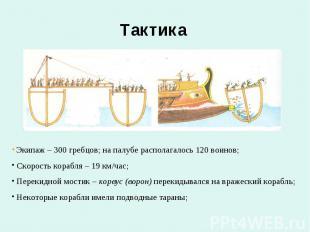 Тактика Экипаж – 300 гребцов; на палубе располагалось 120 воинов; Скорость кораб