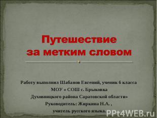 Путешествие за метким словом Работу выполнил Шабанов Евгений, ученик 6 класса МО