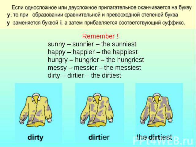 Remember !sunny – sunnier – the sunniesthappy – happier – the happiesthungry – hungrier – the hungriestmessy – messier – the messiestdirty – dirtier – the dirtiest