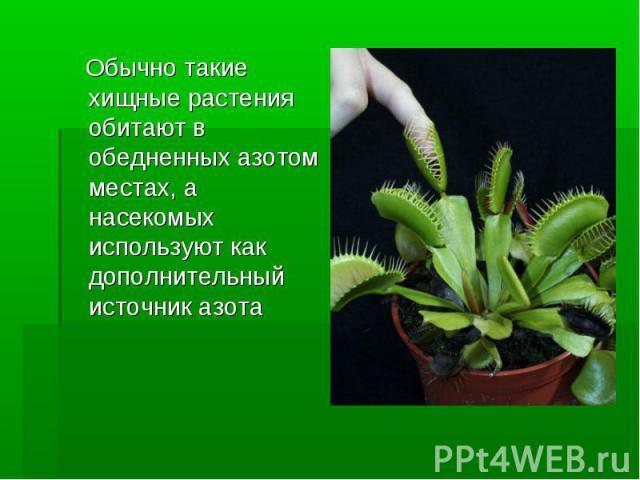 Обычно такие хищные растения обитают в обедненных азотом местах, а насекомых используют как дополнительный источник азота