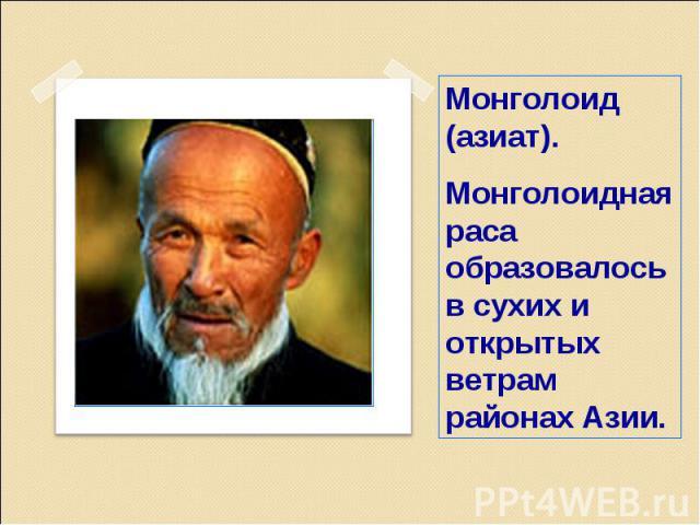 Монголоид (азиат).Монголоидная раса образовалось в сухих и открытых ветрам районах Азии.