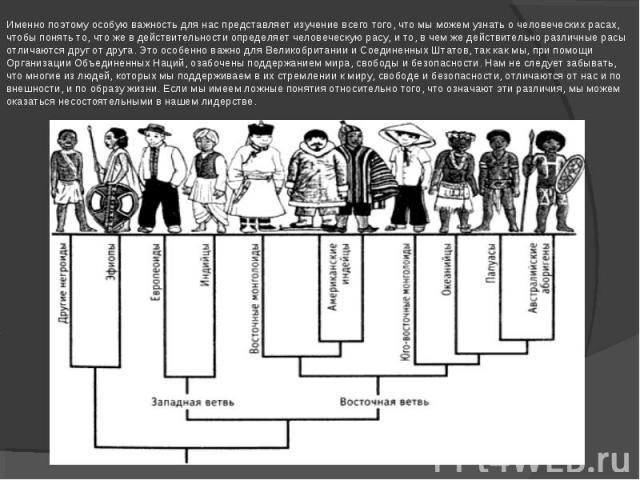 Именно поэтому особую важность для нас представляет изучение всего того, что мы можем узнать о человеческих расах, чтобы понять то, что же в действительности определяет человеческую расу, и то, в чем же действительно различные расы отличаются друг о…