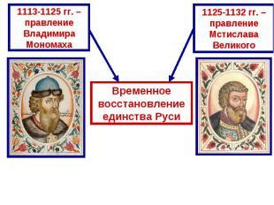 Временное восстановление единства Руси1113-1125 гг. – правление Владимира Монома