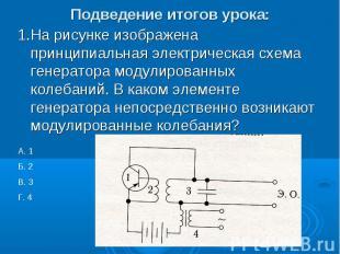 Подведение итогов урока: 1.На рисунке изображена принципиальная электрическая сх