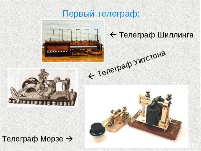 Первый телеграф: Телеграф Шиллинга Телеграф УитстонаТелеграф Морзе