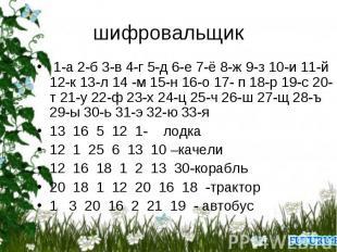 шифровальщик 1-а 2-б 3-в 4-г 5-д 6-е 7-ё 8-ж 9-з 10-и 11-й 12-к 13-л 14 -м 15-н