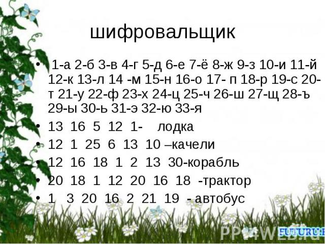шифровальщик 1-а 2-б 3-в 4-г 5-д 6-е 7-ё 8-ж 9-з 10-и 11-й 12-к 13-л 14 -м 15-н 16-о 17- п 18-р 19-с 20-т 21-у 22-ф 23-х 24-ц 25-ч 26-ш 27-щ 28-ъ 29-ы 30-ь 31-э 32-ю 33-я 13 16 5 12 1- лодка12 1 25 6 13 10 –качели12 16 18 1 2 13 30-корабль20 18 1 12…