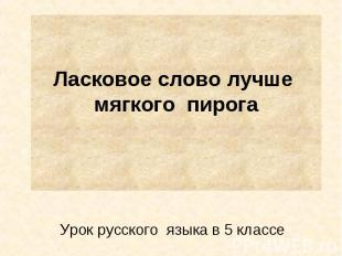 Ласковое слово лучше мягкого пирога Урок русского языка в 5 классе