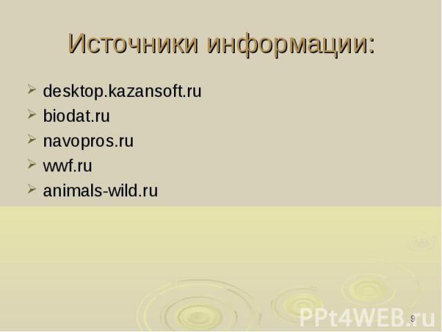 Источники информации: desktop.kazansoft.rubiodat.runavopros.ruwwf.ruanimals-wild.ru