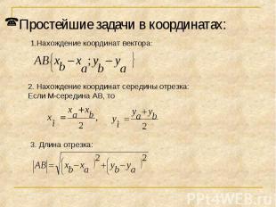 Простейшие задачи в координатах:Нахождение координат вектора:2. Нахождение коорд