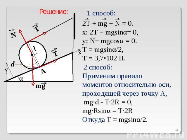 Решение:1 способ:2T + mg + N = 0.x: 2T − mgsinα= 0,y: N− mgcosα = 0.T = mgsinα/2, T = 3,7•102 H. 2 способ: Применим правило моментов относительно оси, проходящей через точку A, mg·d - T·2R = 0,mg·Rsinα = T·2RОткуда T = mgsinα/2.