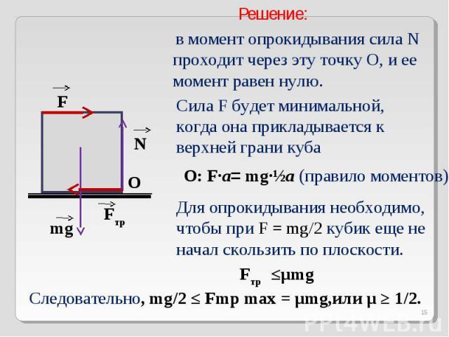 Решение: в момент опрокидывания сила N проходит через эту точку О, и ее момент равен нулю.Сила F будет минимальной, когда она прикладывается к верхней грани кубаДля опрокидывания необходимо, чтобы при F = mg/2 кубик еще не начал скользить по плоскос…