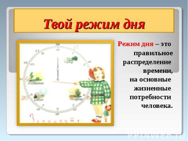 Твой режим дня Режим дня – это правильное распределение времени, на основные жизненные потребности человека.