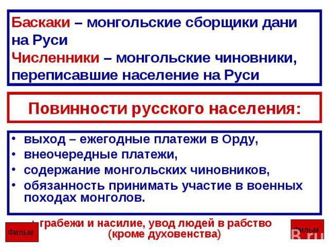 Баскаки – монгольские сборщики дани на РусиЧисленники – монгольские чиновники, переписавшие население на Руси Повинности русского населения: выход – ежегодные платежи в Орду,внеочередные платежи,содержание монгольских чиновников,обязанность принимат…