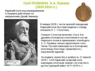 СЫН ПУШКИНА А.А. Пушкин (1833-1914 гг.) Нарвский полк под командованием А.Пушкин