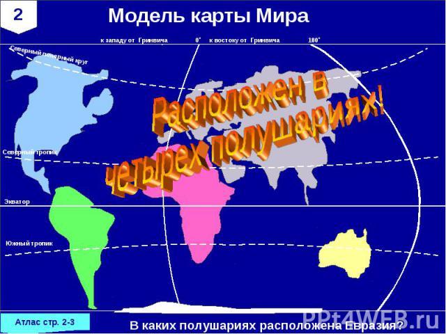 Модель карты МираРасположен в четырех полушариях!