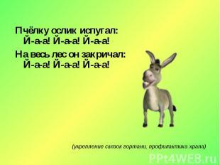 Пчёлку ослик испугал:Й-а-а! Й-а-а! Й-а-а!На весь лес он закричал:Й-а-а! Й-а-а! Й