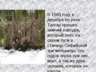 В 1860 году в декабре по реке Талгар прошел зимний паводок, который снес на свое