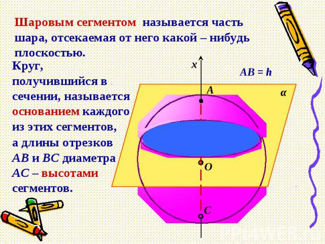 Шаровым сегментом называется часть шара, отсекаемая от него какой – нибудь плоскостью.Круг, получившийся в сечении, называется основанием каждого из этих сегментов,а длины отрезков АВ и ВС диаметра АС – высотами сегментов.