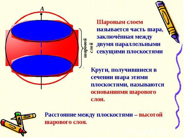 Шаровым слоем называется часть шара, заключённая между двумя параллельными секущими плоскостямиКруги, получившиеся в сечении шара этими плоскостями, называются основаниями шарового слоя.Расстояние между плоскостями – высотой шарового слоя.