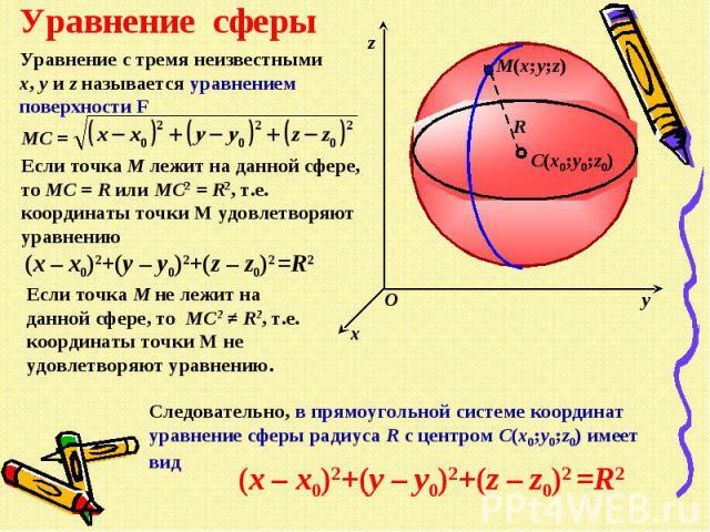 Уравнение сферыУравнение с тремя неизвестными x, y и z называется уравнением поверхности FЕсли точка М лежит на данной сфере, то МС = R или МС2 = R2, т.е. координаты точки М удовлетворяют уравнениюЕсли точка М не лежит на данной сфере, то МС2 ≠ R2, …
