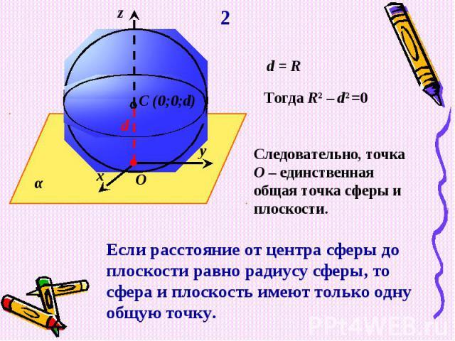 Следовательно, точка О – единственная общая точка сферы и плоскости.Если расстояние от центра сферы до плоскости равно радиусу сферы, то сфера и плоскость имеют только одну общую точку.