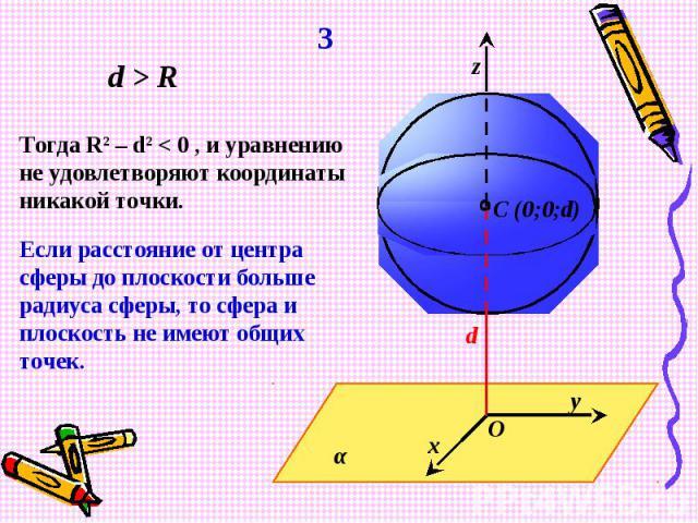 Тогда R2 – d2 < 0 , и уравнению не удовлетворяют координаты никакой точки.Если расстояние от центра сферы до плоскости больше радиуса сферы, то сфера и плоскость не имеют общих точек.