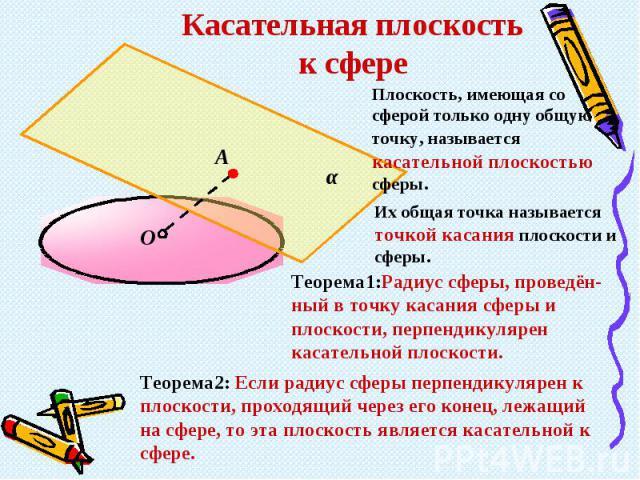 Касательная плоскость к сфереПлоскость, имеющая со сферой только одну общую точку, называется касательной плоскостью сферы.Их общая точка называется точкой касания плоскости и сферы. Теорема1:Радиус сферы, проведён- ный в точку касания сферы и плоск…