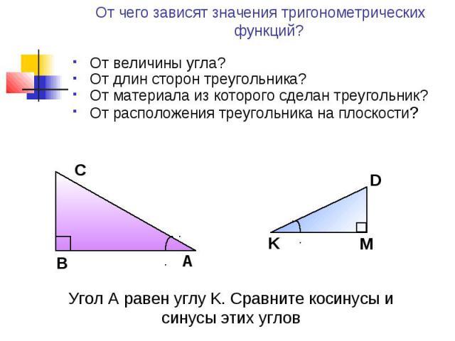 От чего зависят значения тригонометрических функций? От величины угла?От длин сторон треугольника?От материала из которого сделан треугольник?От расположения треугольника на плоскости?Угол A равен углу K. Сравните косинусы и синусы этих углов