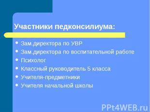 Участники педконсилиума: Зам.директора по УВРЗам.директора по воспитательной раб