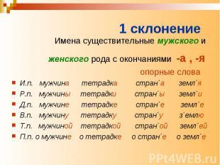 1 склонение Имена существительные мужского и женского рода с окончаниями -а , -я